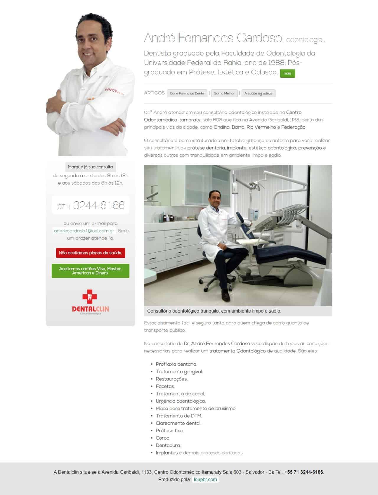 Print da página principal do site andrecardosodentista.com.br
