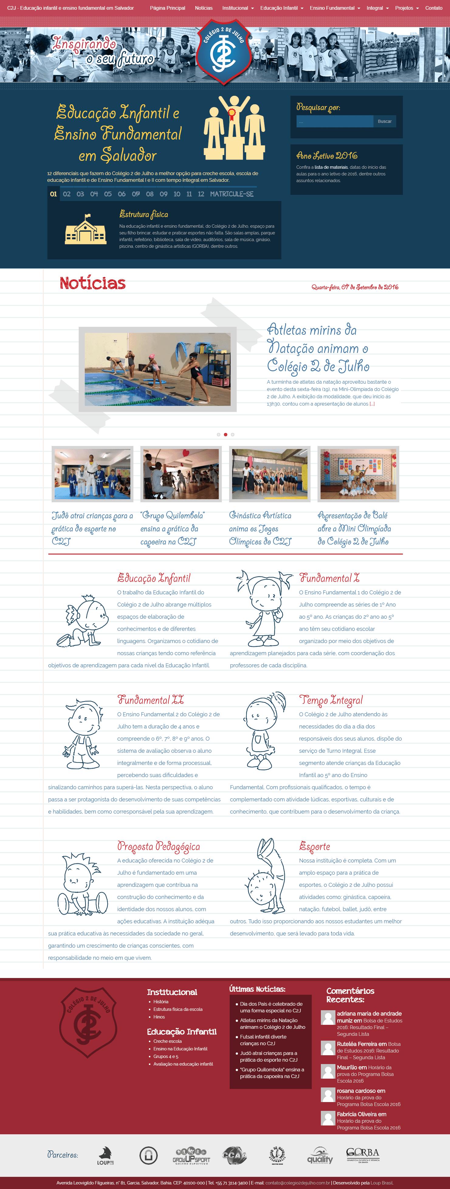 Página Principal do site do Colégio 2 de Julho