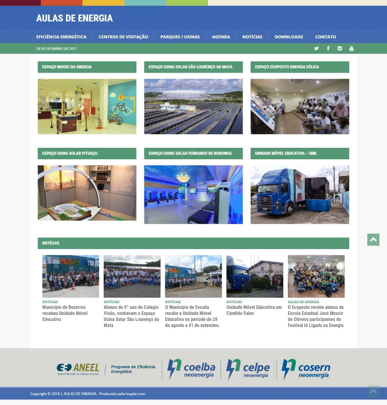 Página principal do site Aulas de Energia.