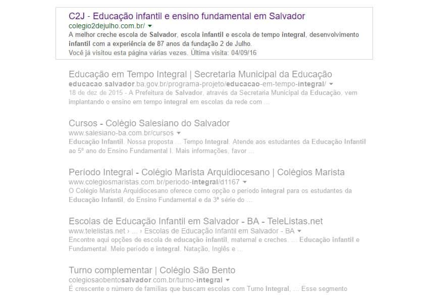 Print do resultado de busca no Google mostra o Colégio 2 de Julho na frente dos concorrentes.