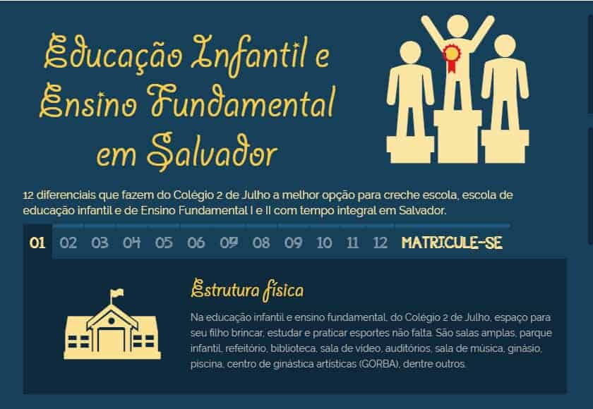 Capa do site do Colégio 2 de Julho apresenta formulário para captação de novos clientes.