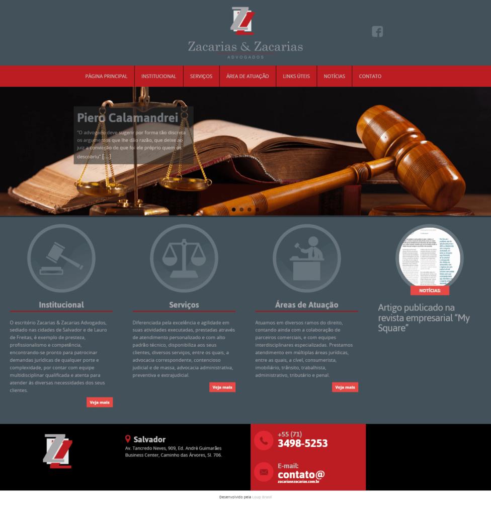 Print do escritório de advocacia Zacarias e Zacarias