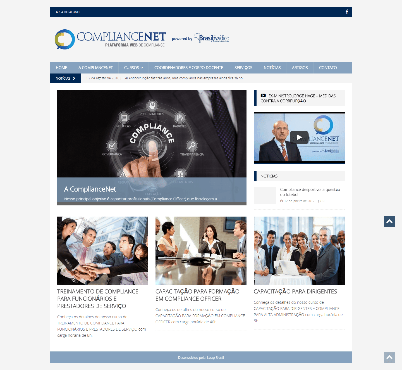 Imagem apresenta a página principal do site ComplianceNet.