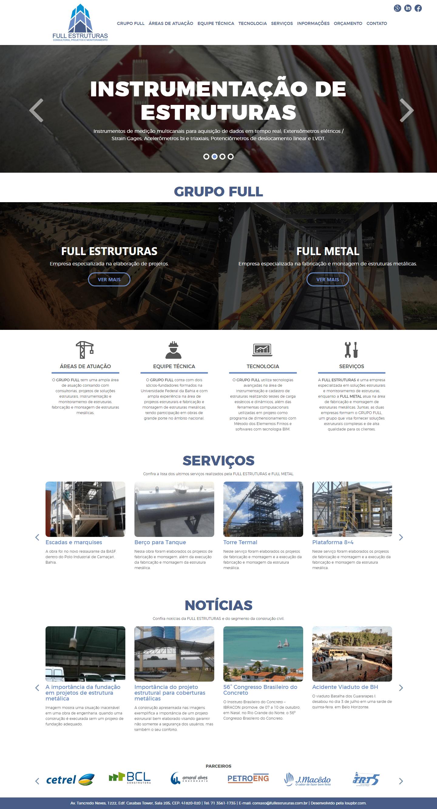 Imagem apresenta a página principal do site GRUPO FULL.