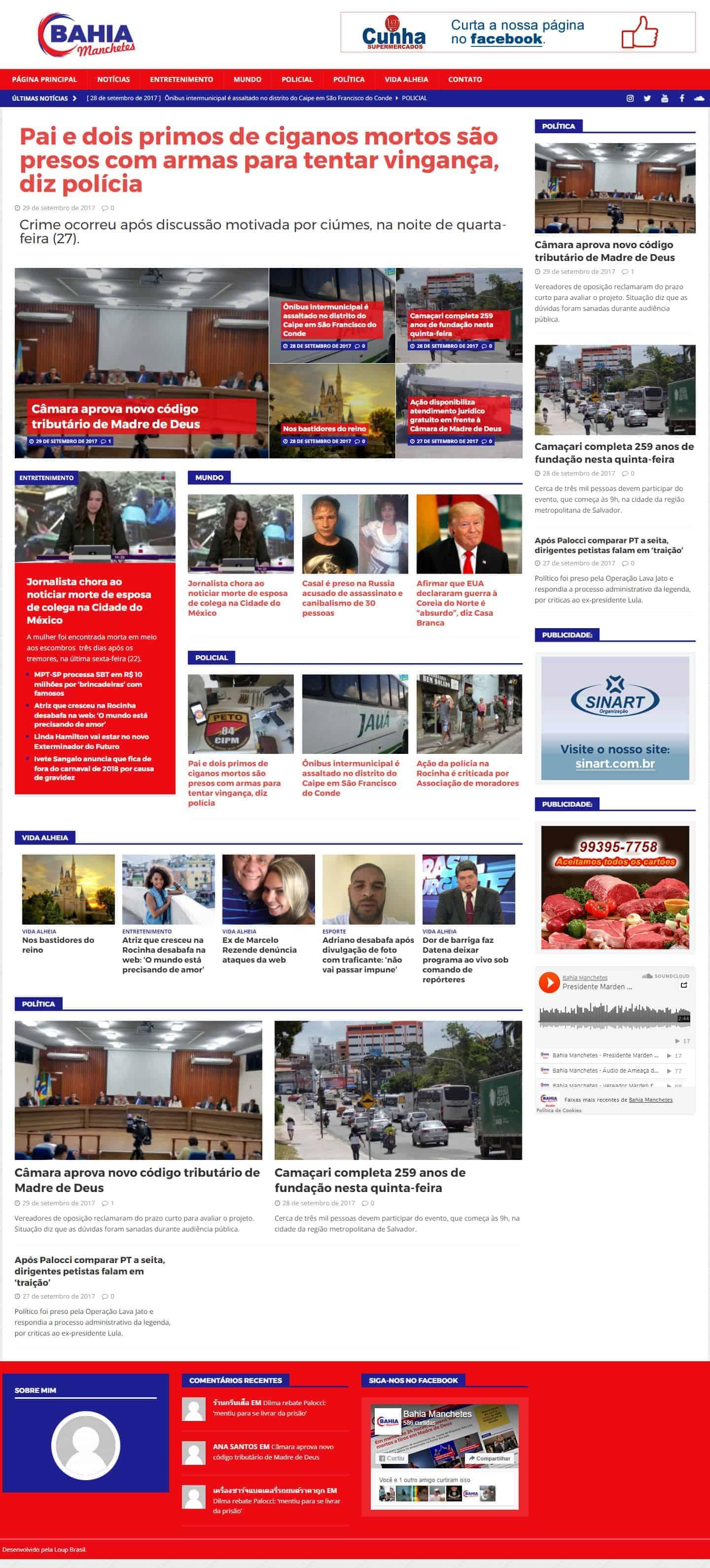 Página principal do portal de notícias Bahia Manchetes.