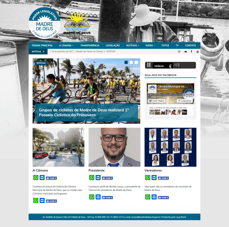 Página principal do site da Câmara Municipal de Madre de Deus.