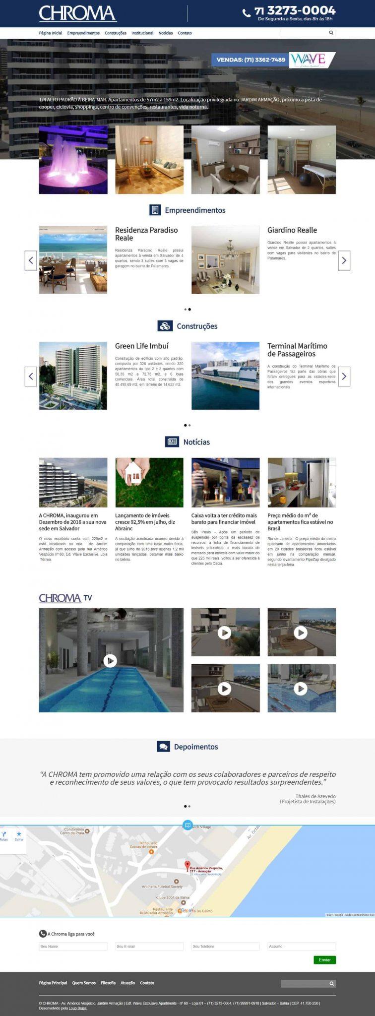 Página principal da CRHOMA Empreendimentos.