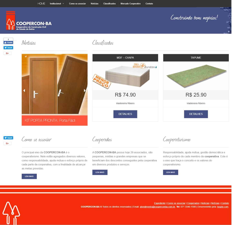 Página principal do site da COOPERCON-BA.