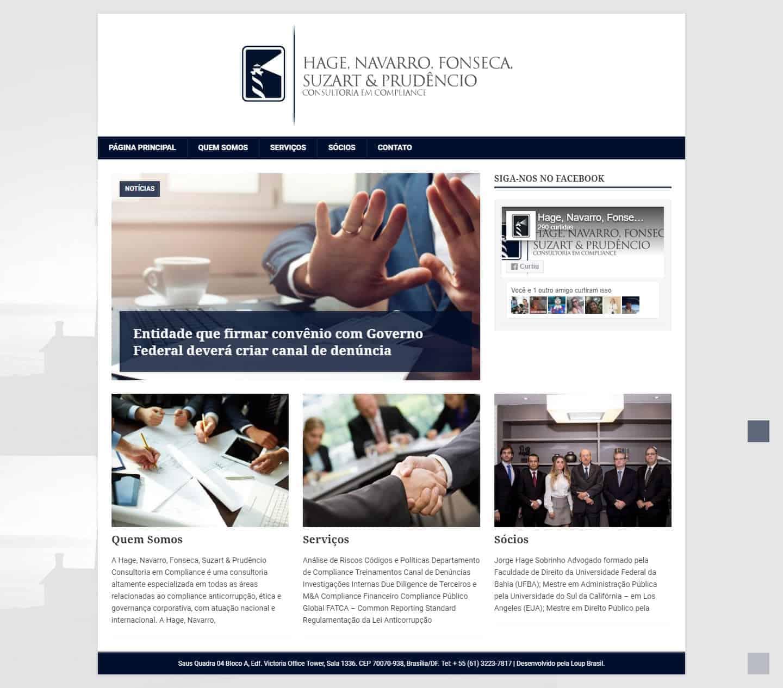 página principal do site da Hage, Navarro, Fonseca, Suzart & Prudêncio Consultoria.
