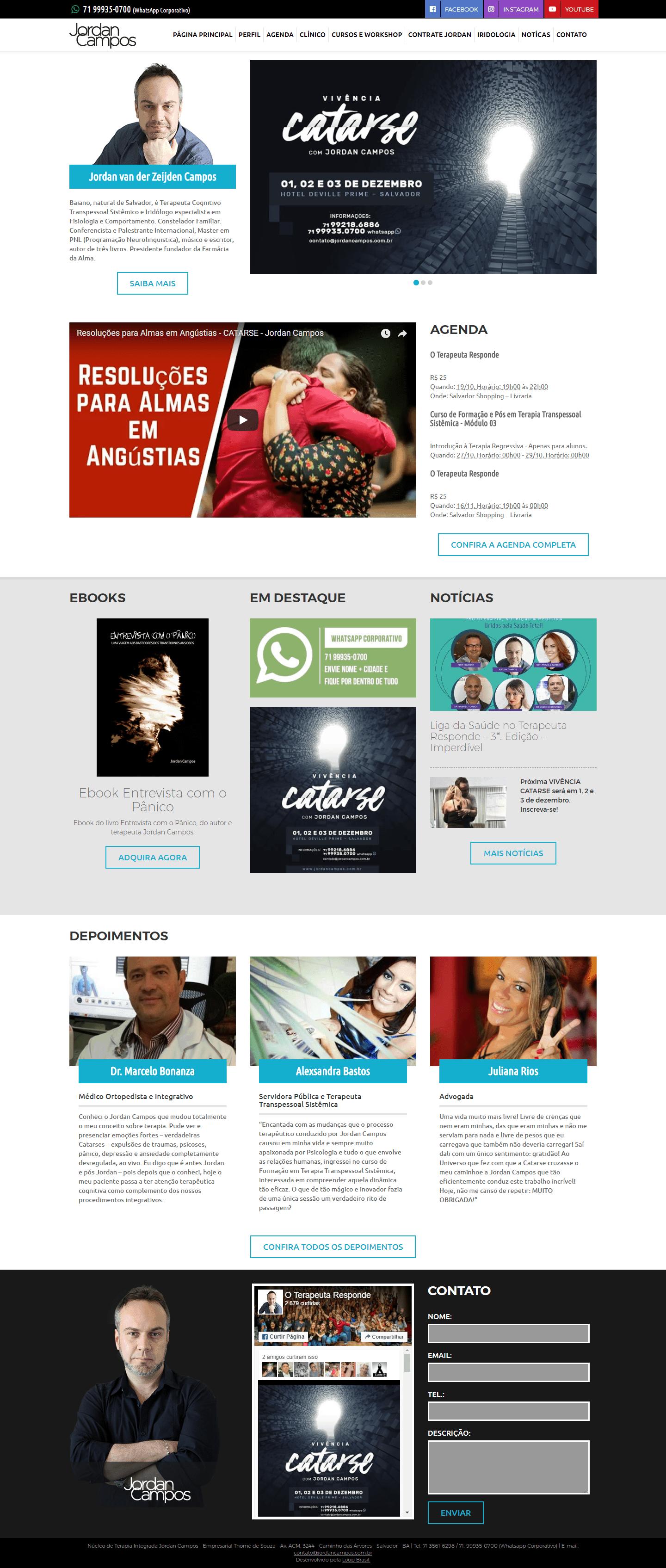 Página principal do site Jordan Campos.