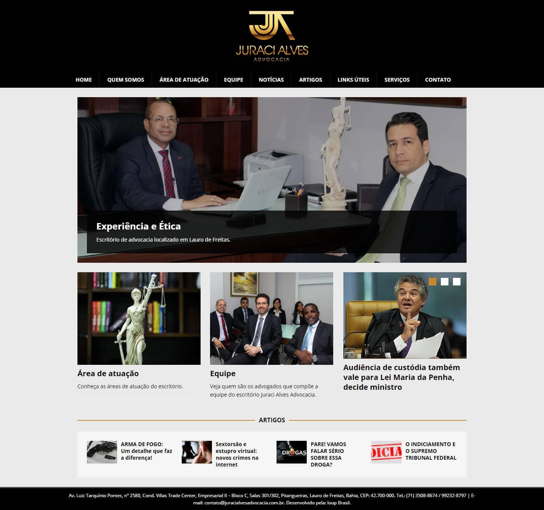 Página principal do site Juraci Alves Advocacia.