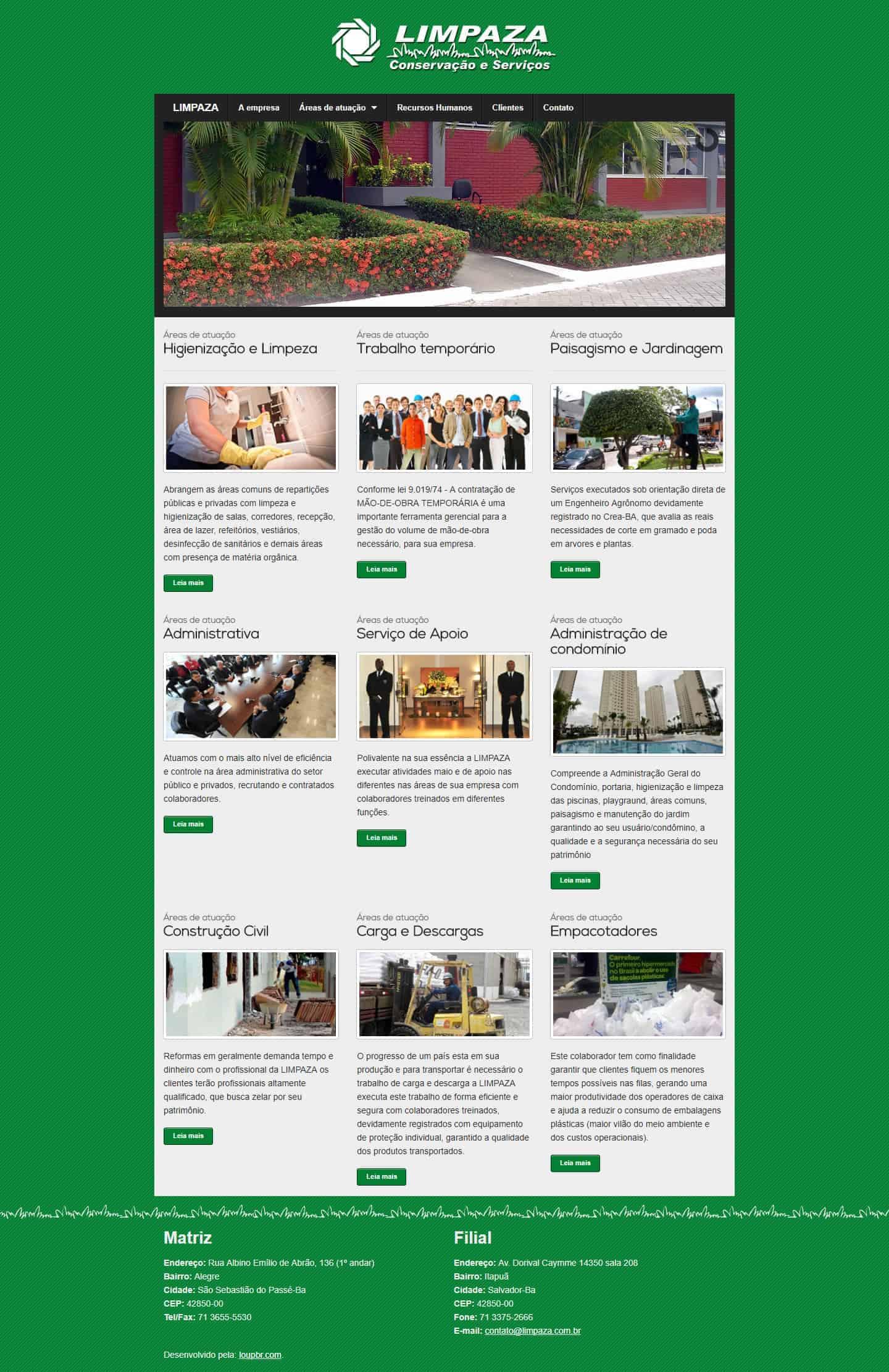 Página principal do site da Limpaza.
