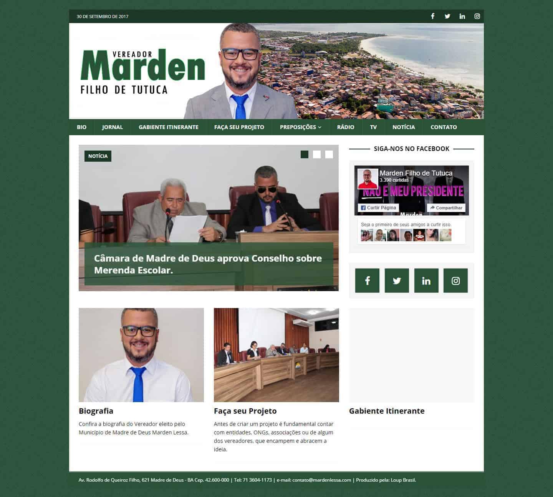 Página principal do site do Vereador Marden Lessa.