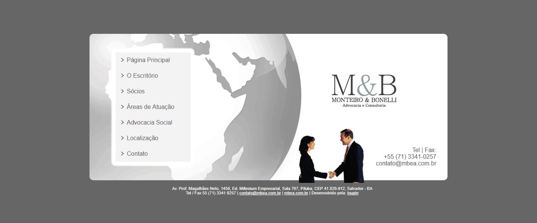 Página principal do site Monteiro & Bonelli Advocacia Social.