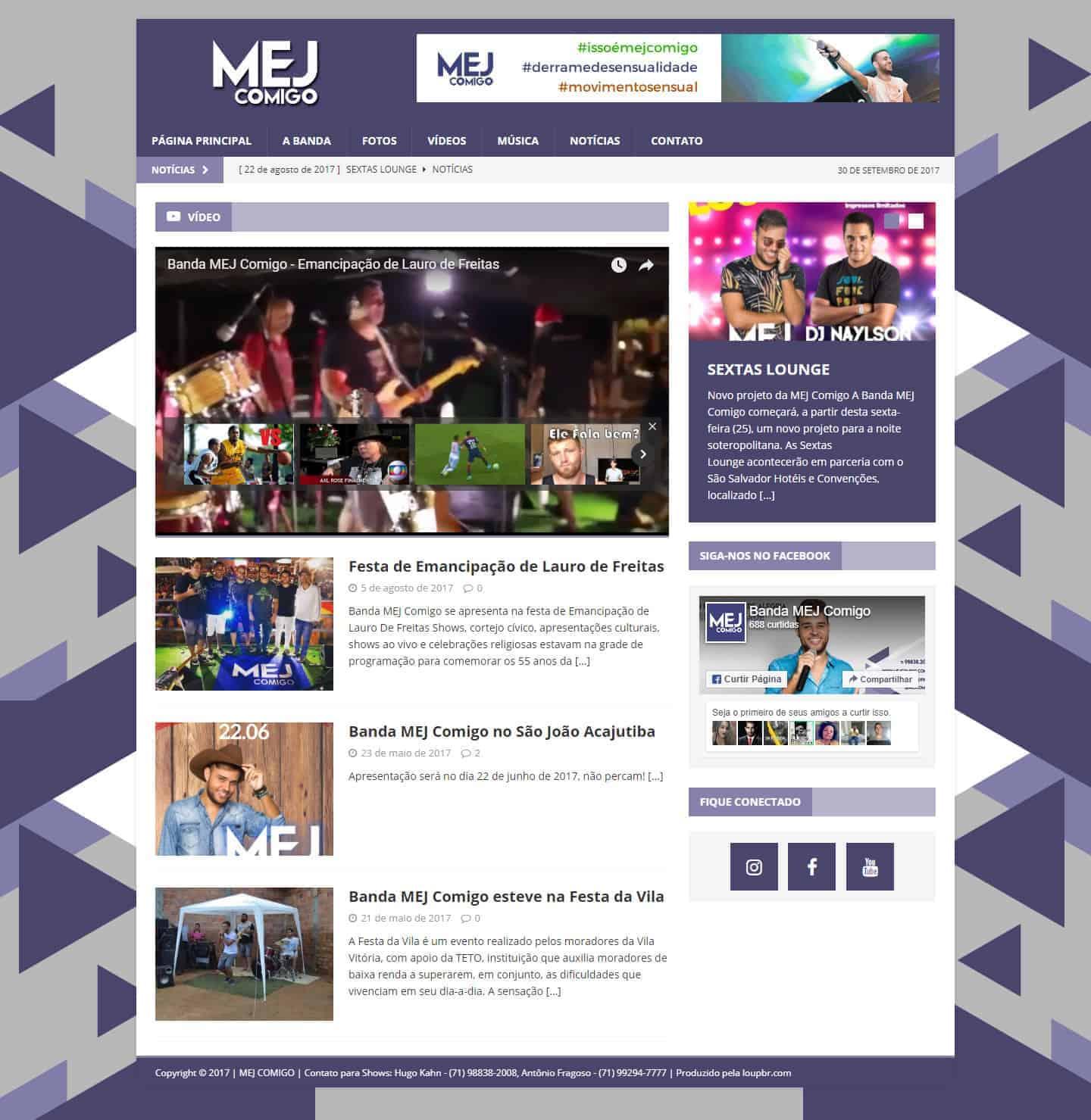 Página principal do site Banda MEJ Comigo.