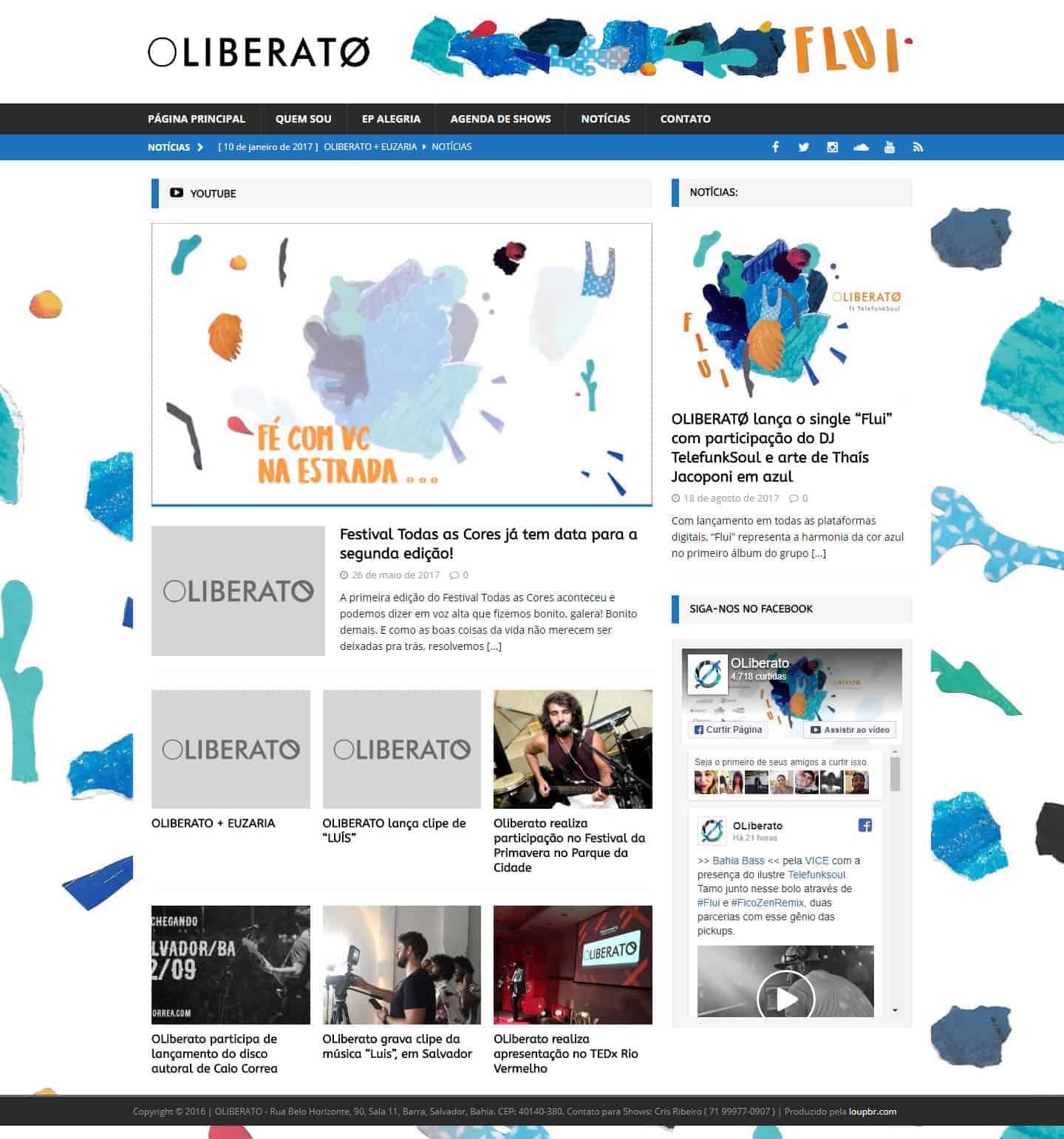 Página principal da banda OLIBERATO.