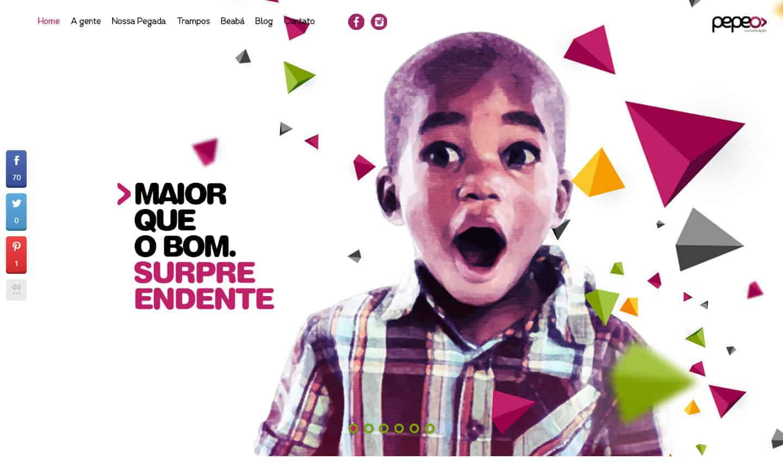 Página principal do site da Pepeô Comunicação.