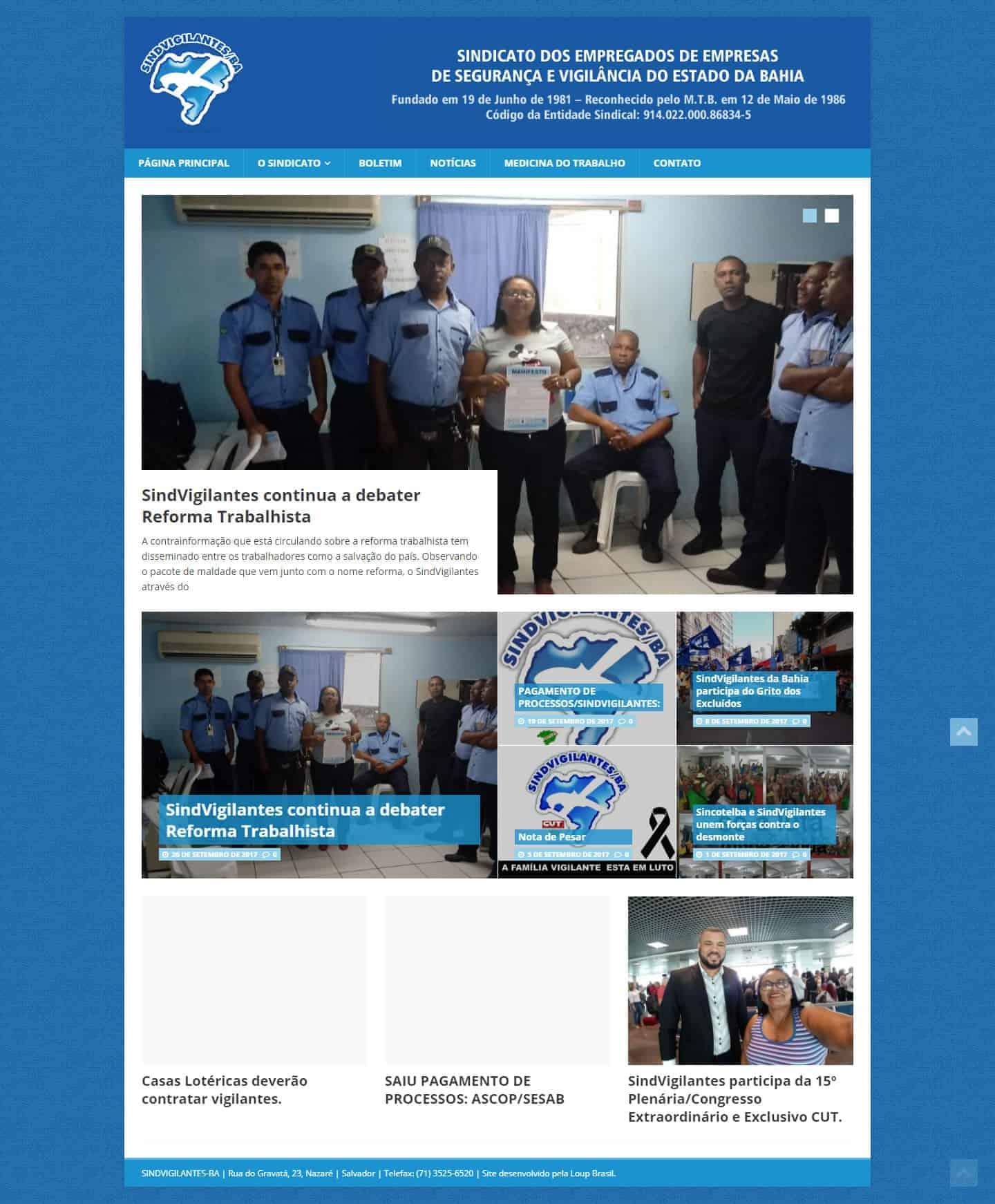 Página Principal do Sindvigilantes– Sindicato dos Vigilantes do Estado da Bahia.