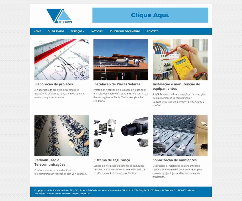 Página principal do site da VCA Teletron.