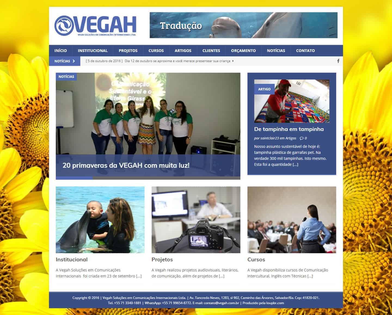 Página principal do site da Vegah Soluções em Comunicações Internacionais.