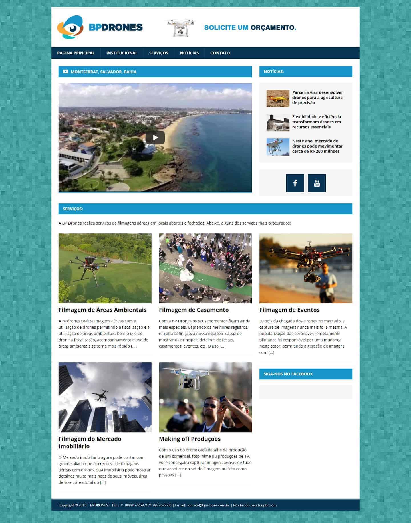 Página principal da BP Drones.