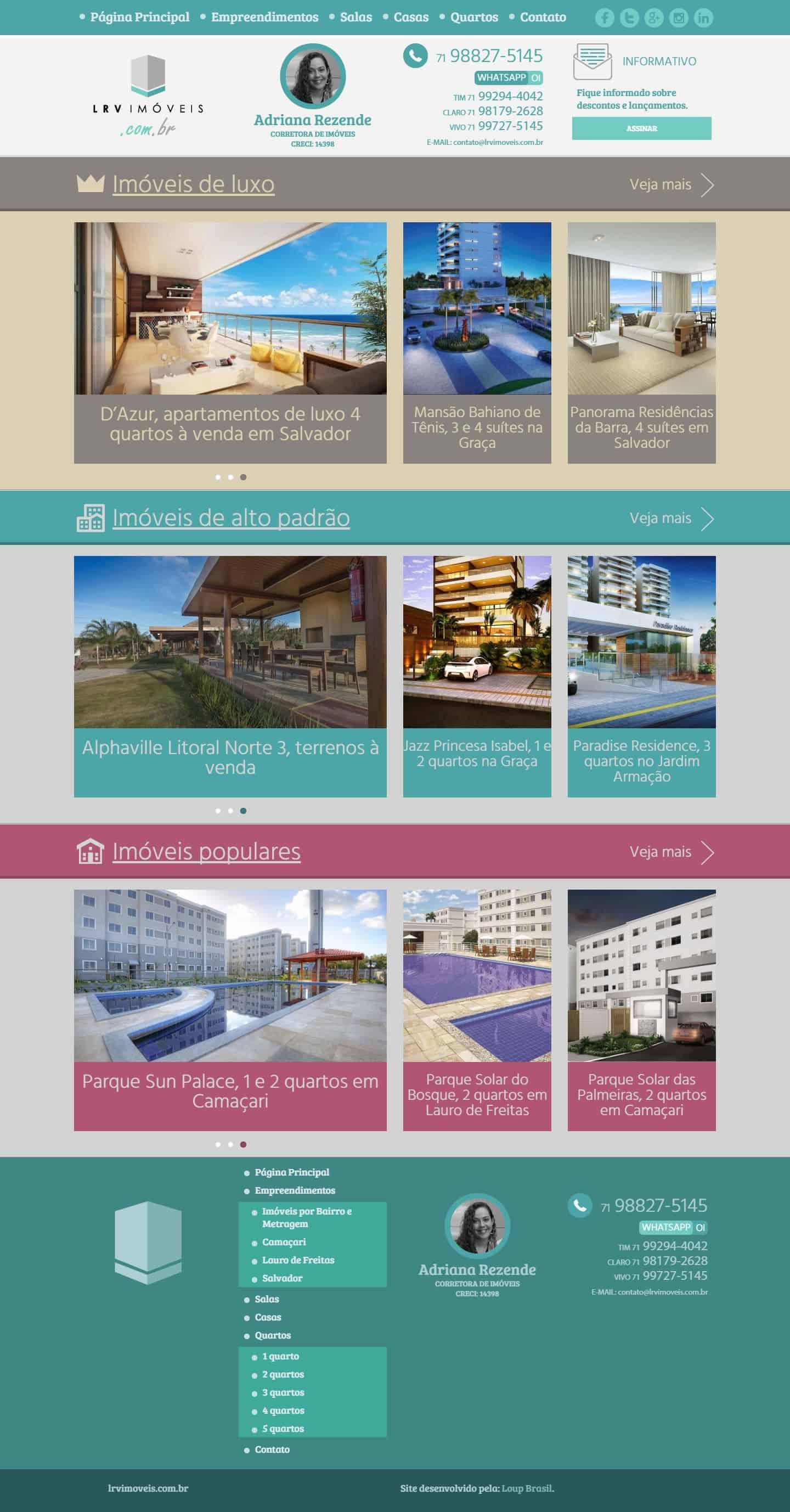 Página principal do site da corretora de imóveis, Adriana Rezende.