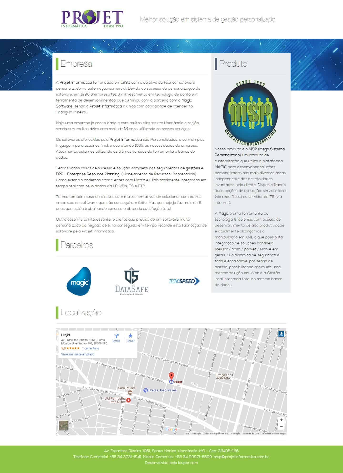 Página principal do site da Projet Informática.