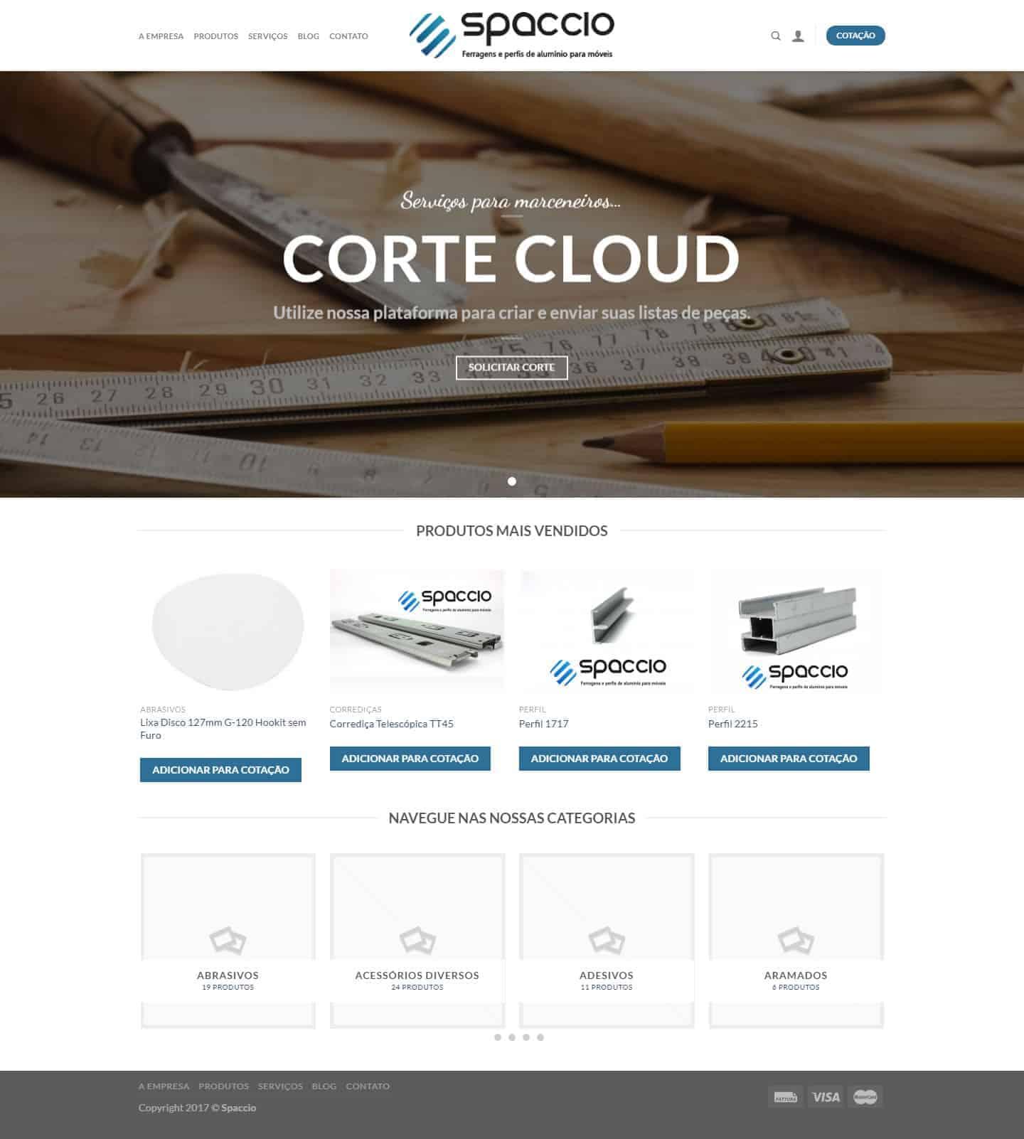Página principal do site Spaccio Comércio Ltda.