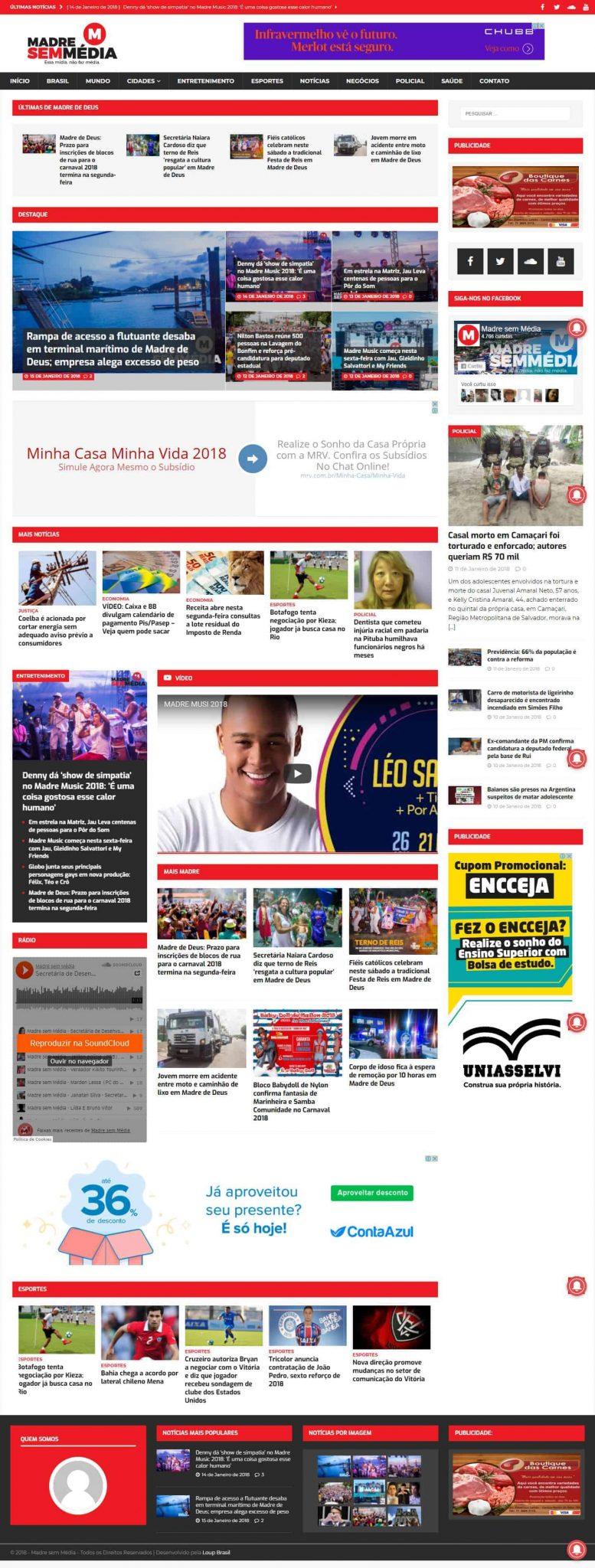 Página principal do site Madre Sem Média.