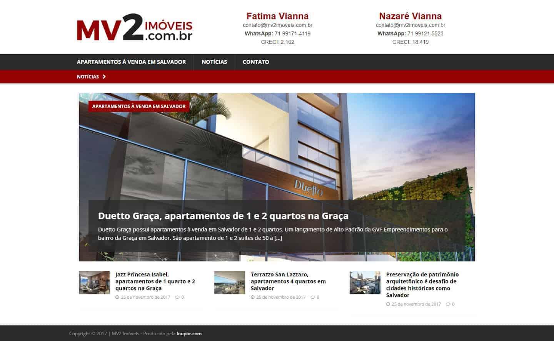 Página principal do site MV2 Imóveis.