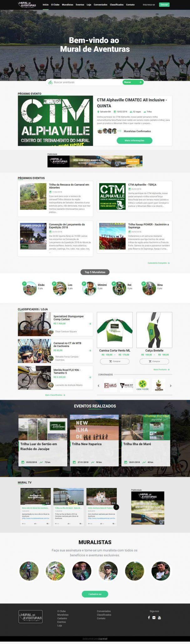 Print da página principal do Clube de Ciclismo e Aventuras, Mural de Aventuras.