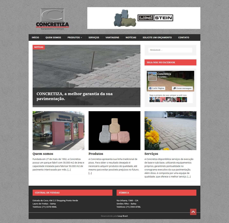 Página principal do site da CONCRETIZA - Equipamentos e Serviços.