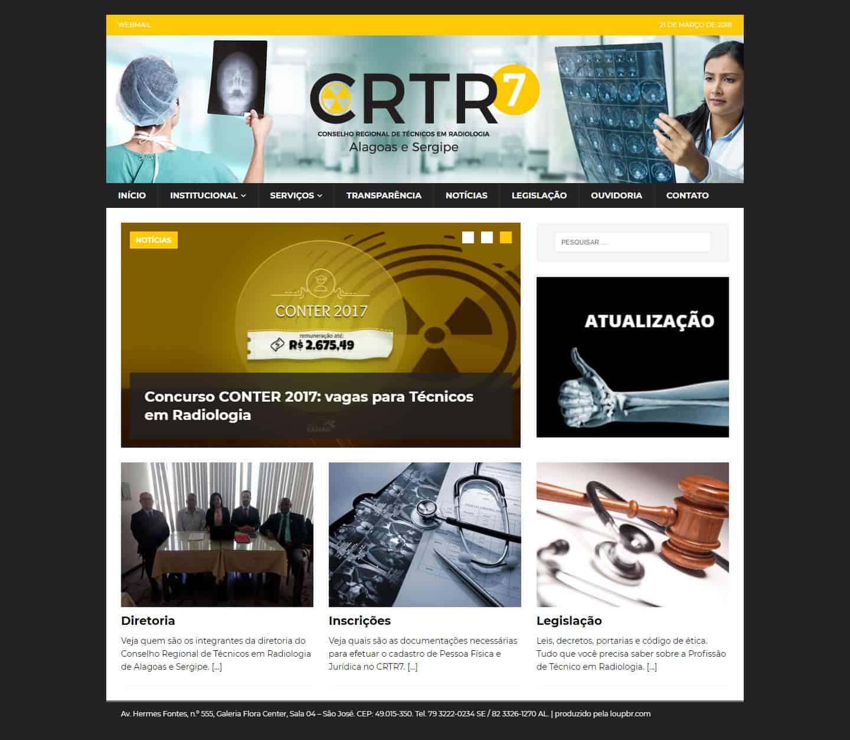 Print da página principal do CRTR7 - Conselho Regional de Técnicos em Radiologia de Alagoas e Sergipe.