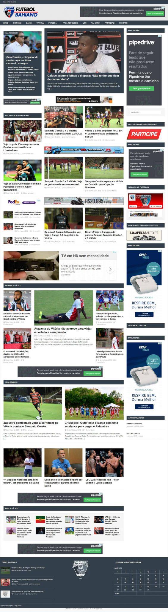 Página principal do portal de notícias esportivas futebolbahiano.org.