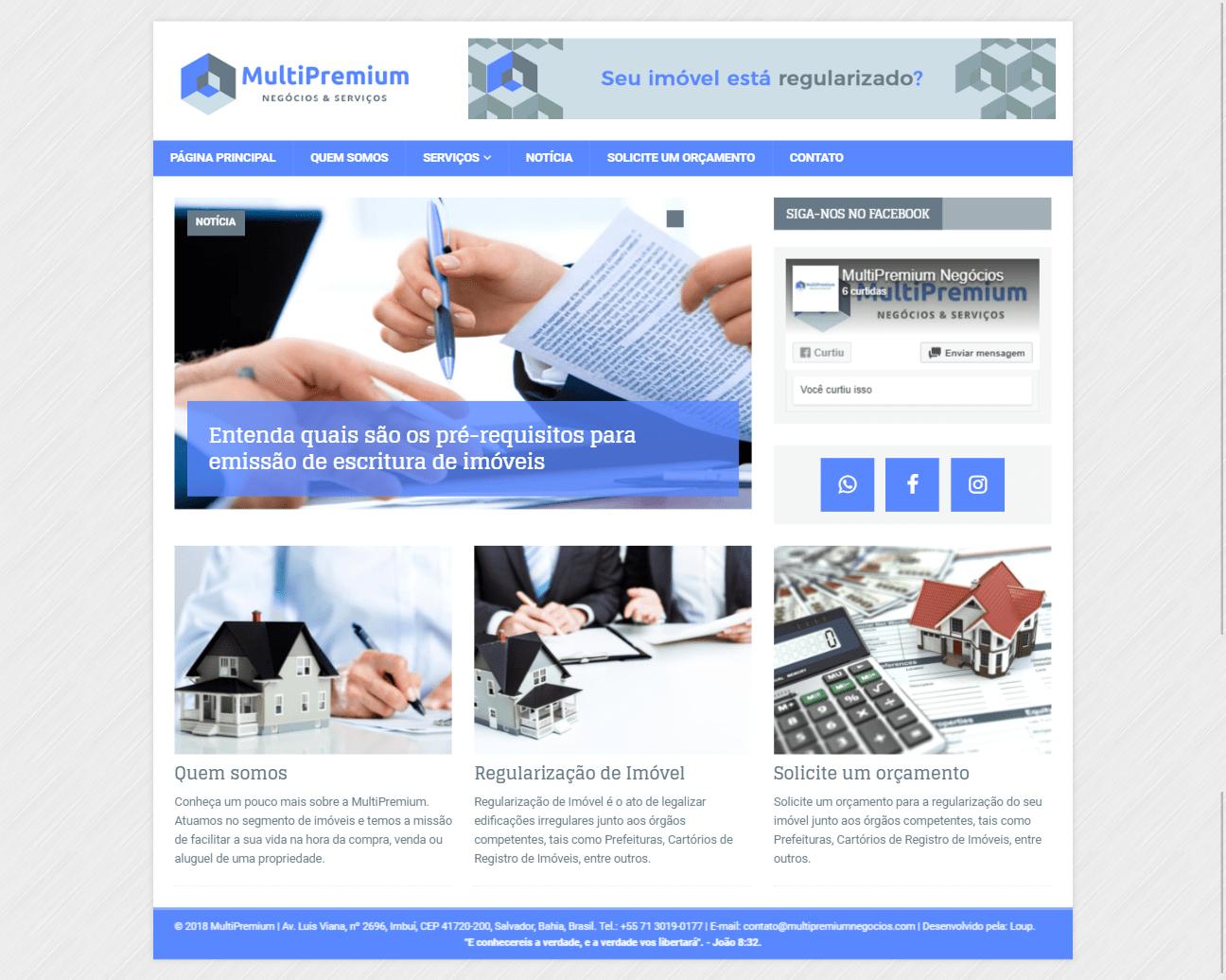 Página principal do site MultiPremium Negócios & Serviços.