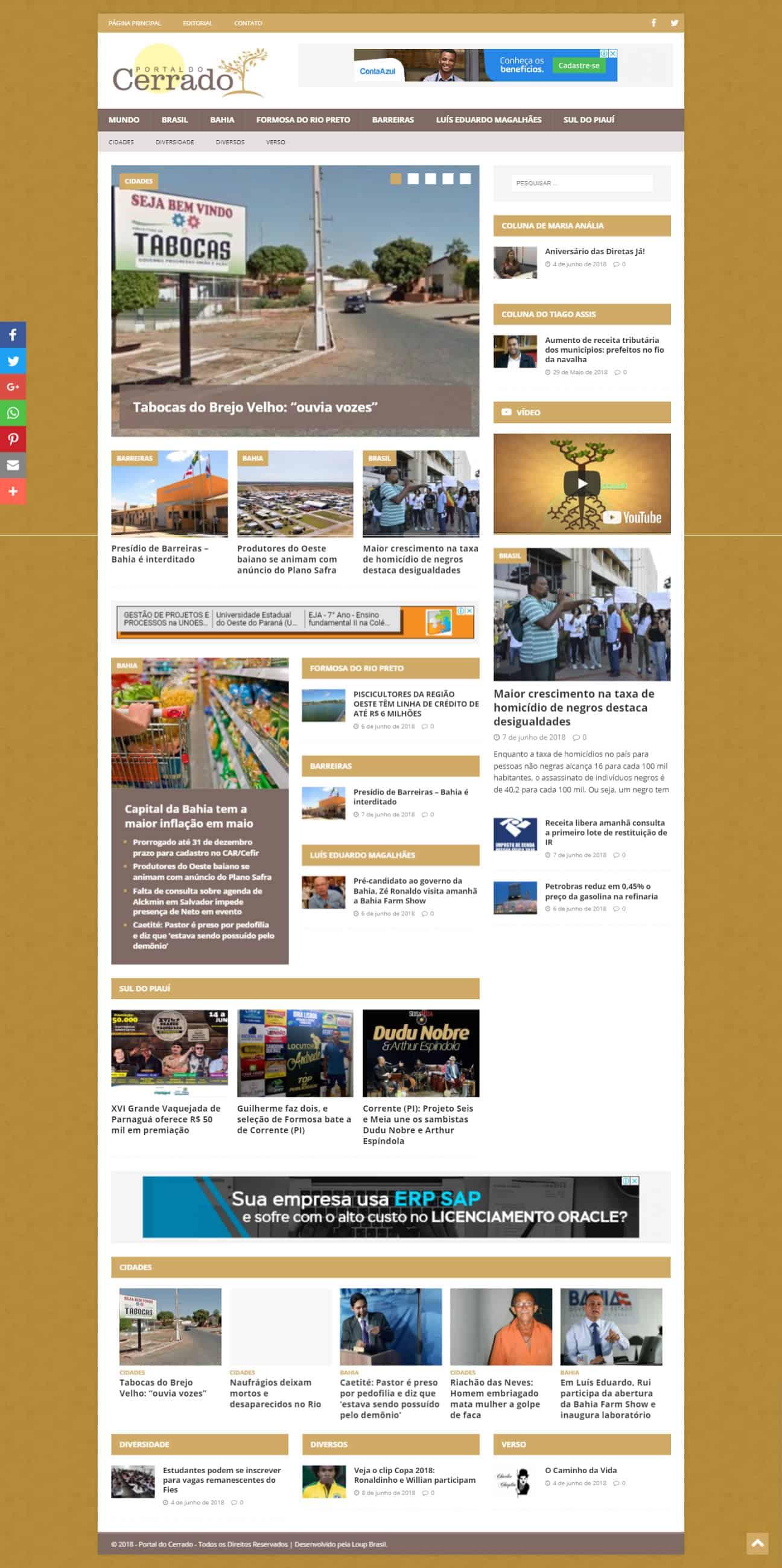Print da página principal do site do Portal do Cerrado.