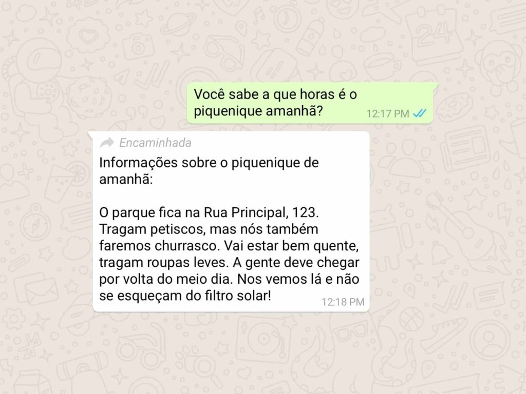 """Rótulo de """"encaminhada"""" entra em funcionamento (Foto: Divulgação / WhatsApp)"""