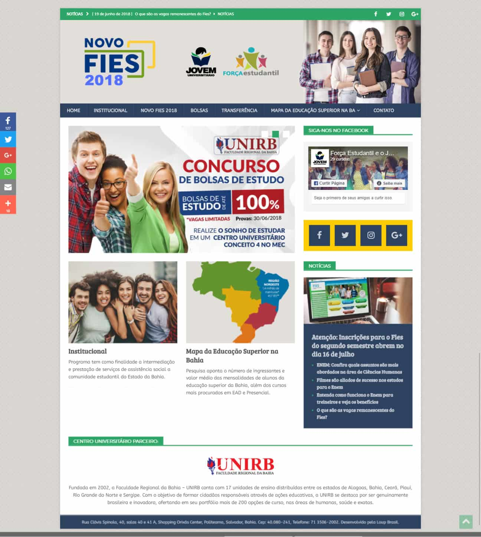 Imagem da página principal do site Jovem Universitário.