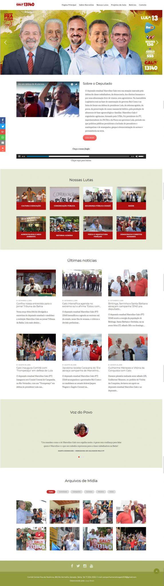 Página principal do site candidato a reeleição como Deputado Estadual Marcelino Galo 13140.