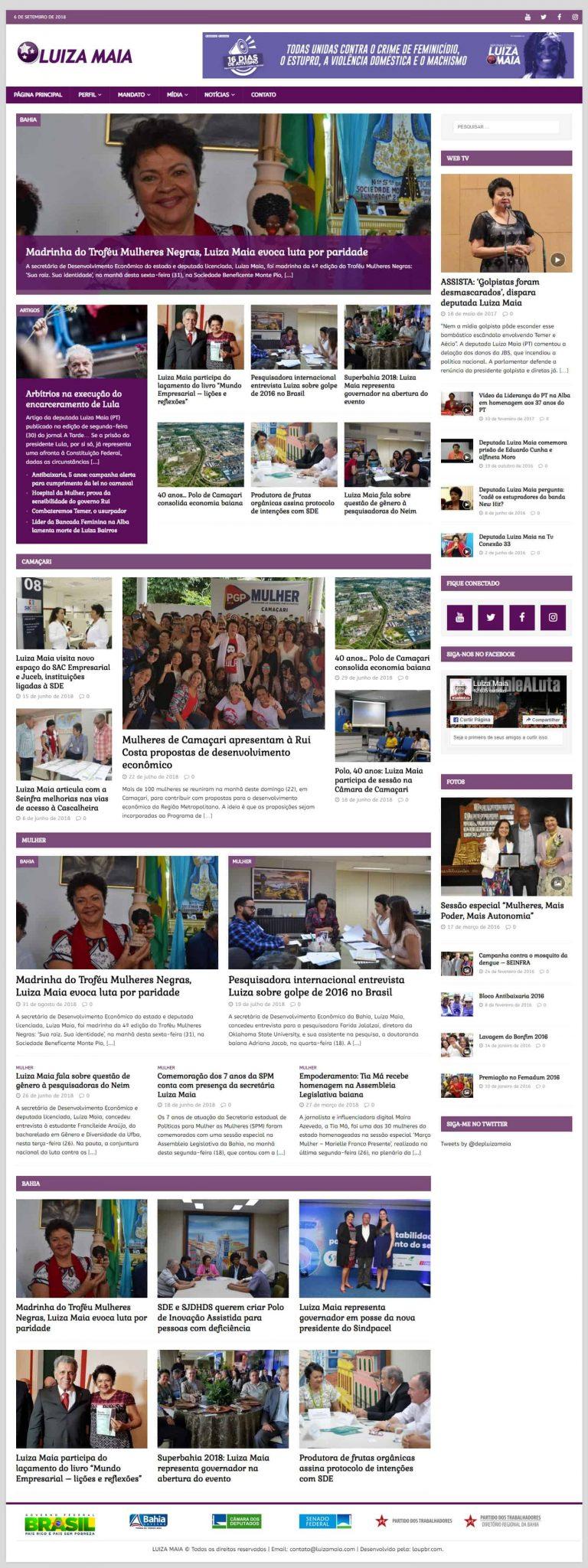 Print da página principal do site da Deputada Estadual Luiza Maia.