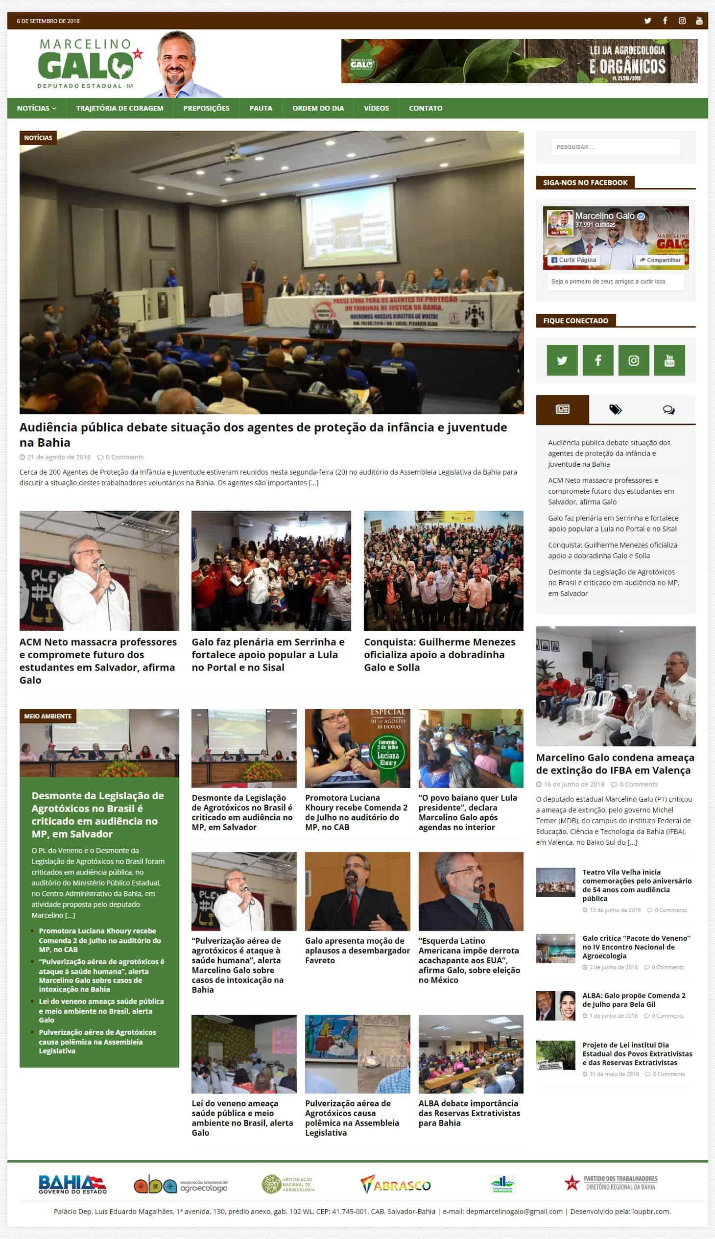 Print da página principal do site do Deputado Estadual Marcelino Galo.