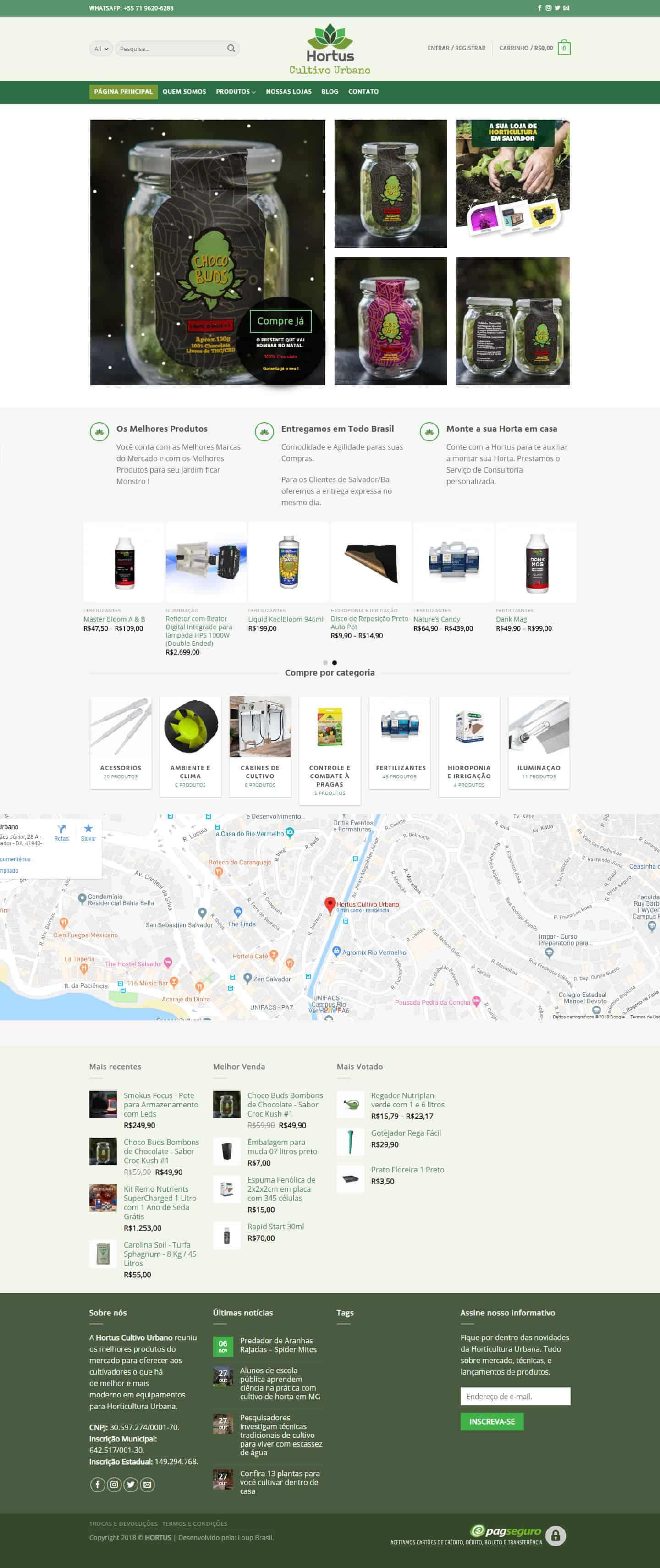 Página inicial da loja virtual Hortus Cultivo Urbano.