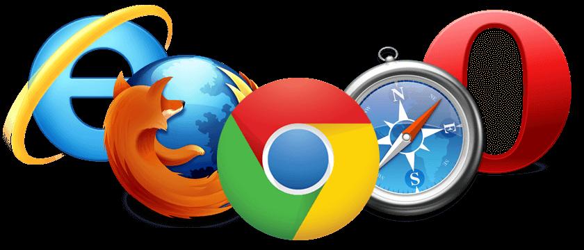 Entre eles, a versão mais recente do Google Chrome, Microsoft Edge, Mozilla Firefox, e Safari..
