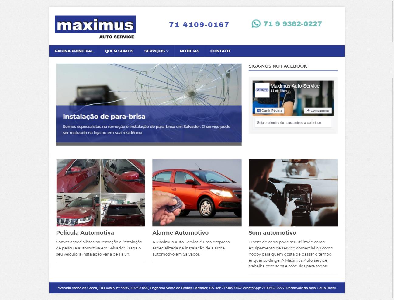 Página principal da Maximus Auto Service.