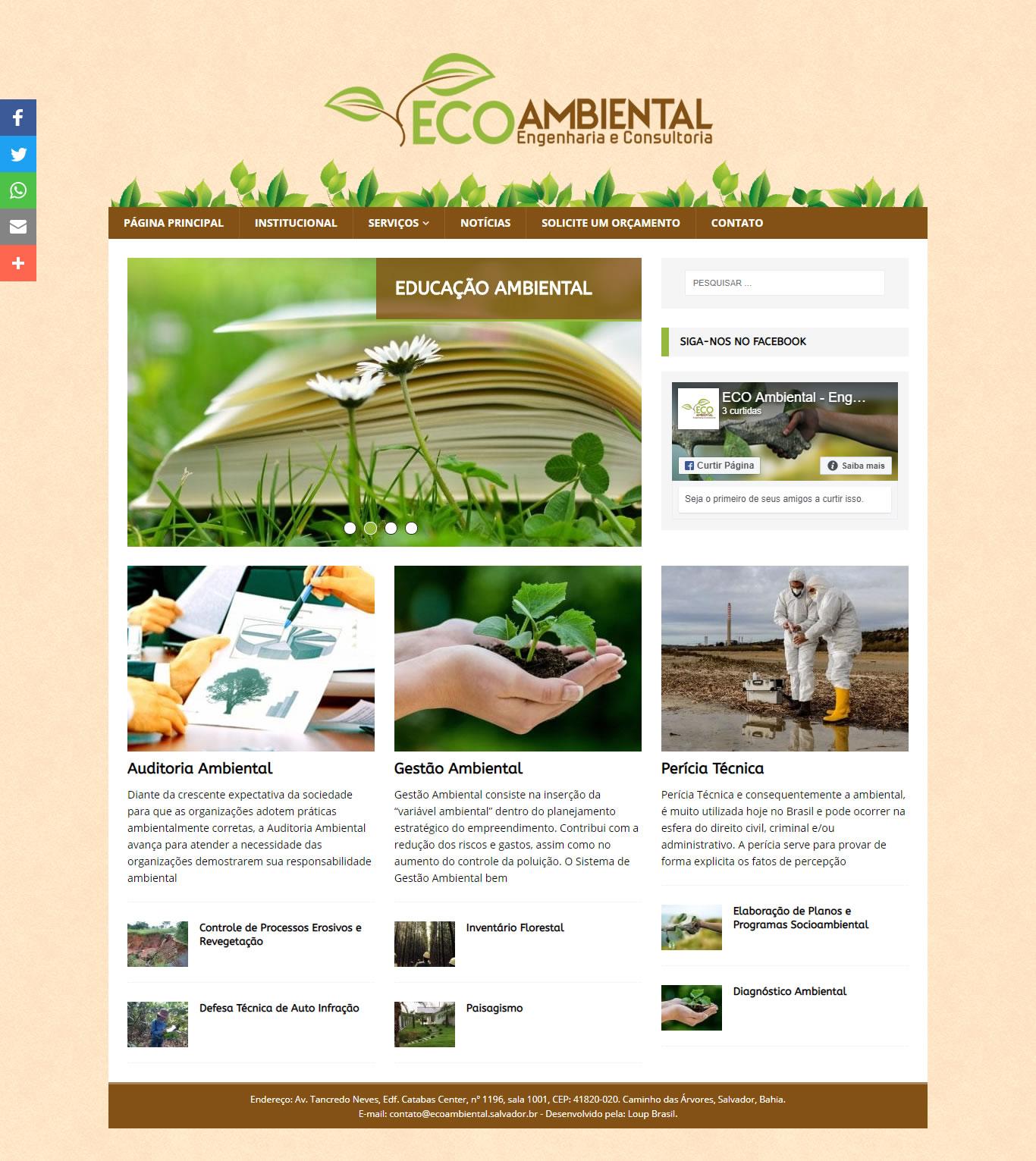 Página inicial da EcoAmbiental, engenharia e consultoria.