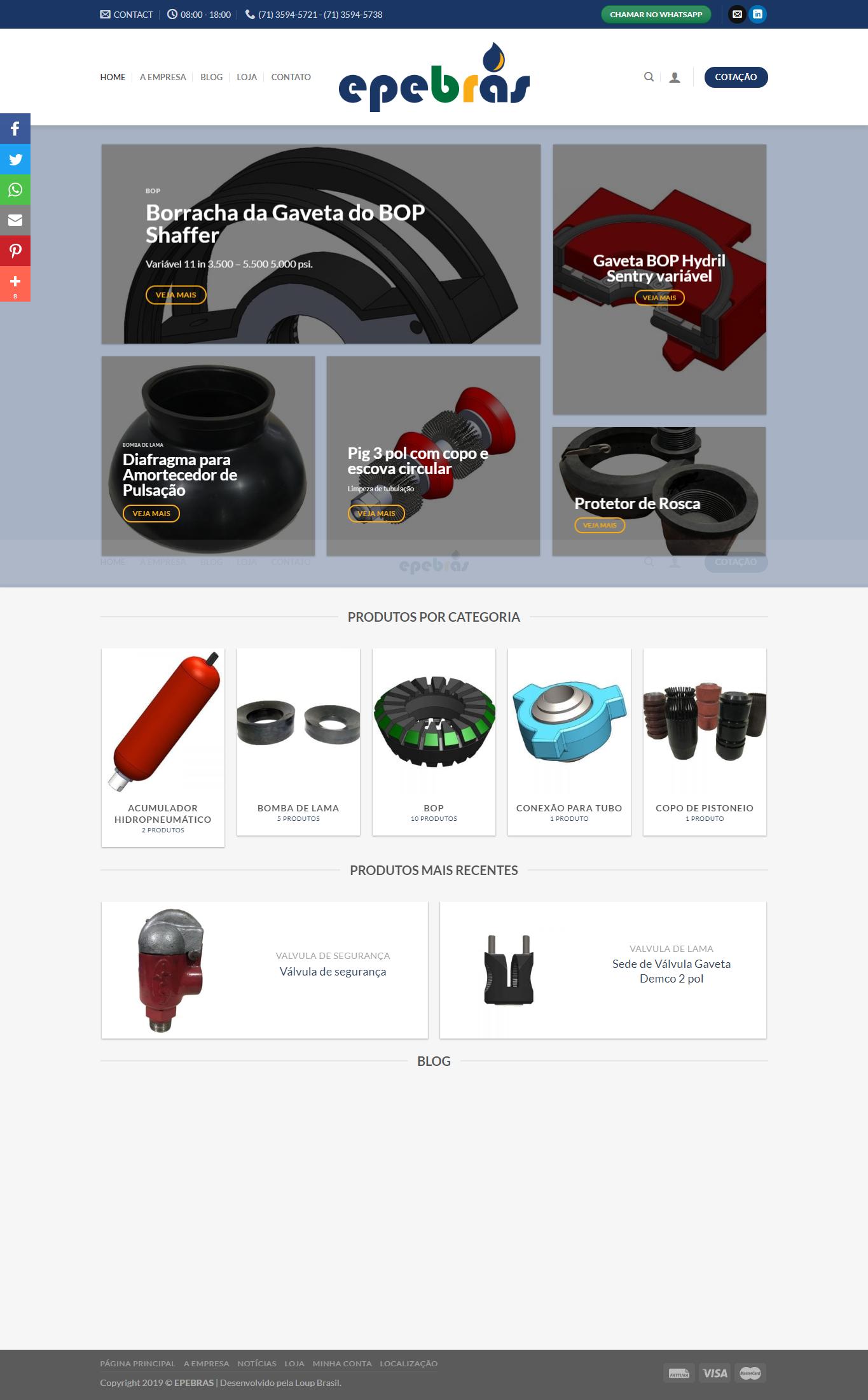 Print da página principal do site da EPEBRAS.