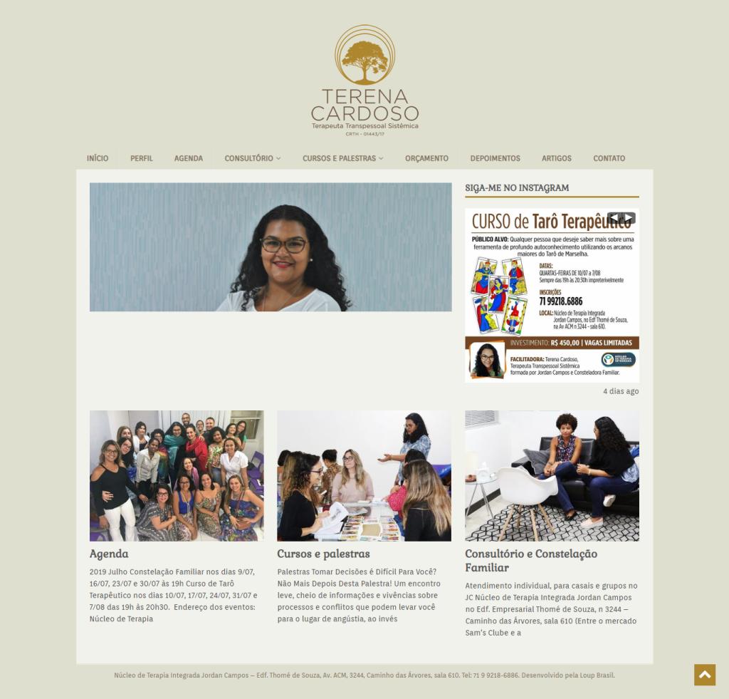 Print da página principal do site de Terena Cardoso.