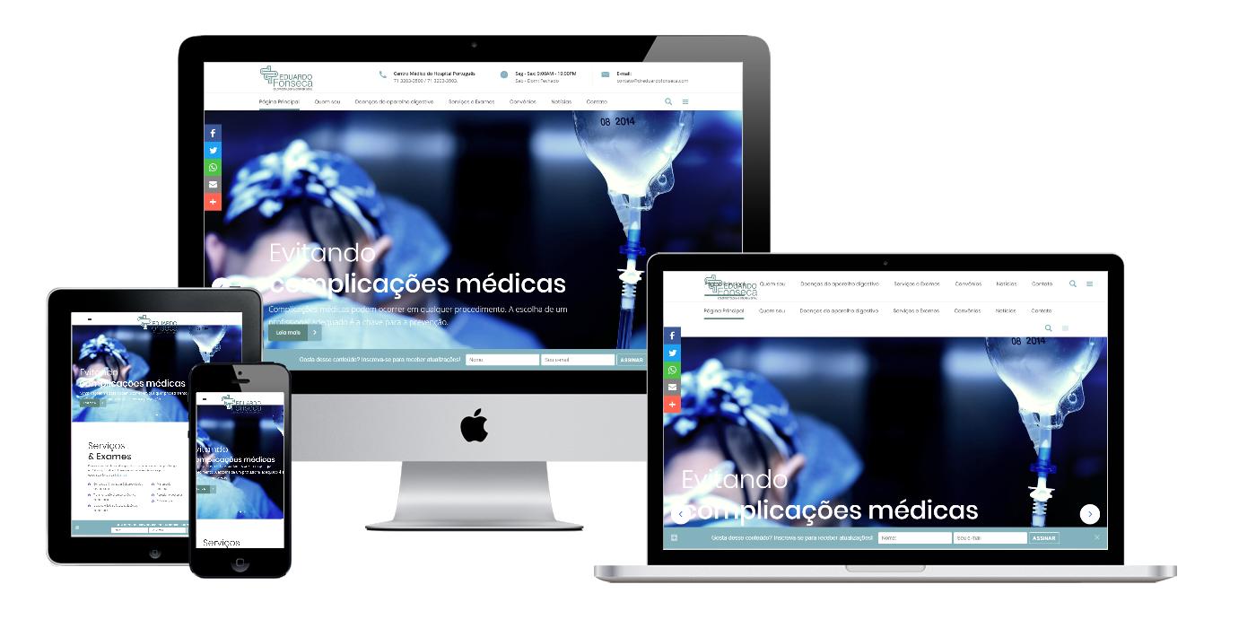 Print da página principal do site do Dr. Eduardo Fonseca.