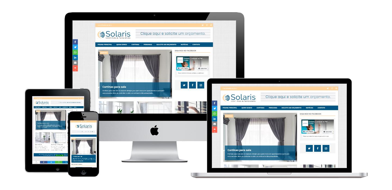 Print da página principal do site Solaris Cortinas.