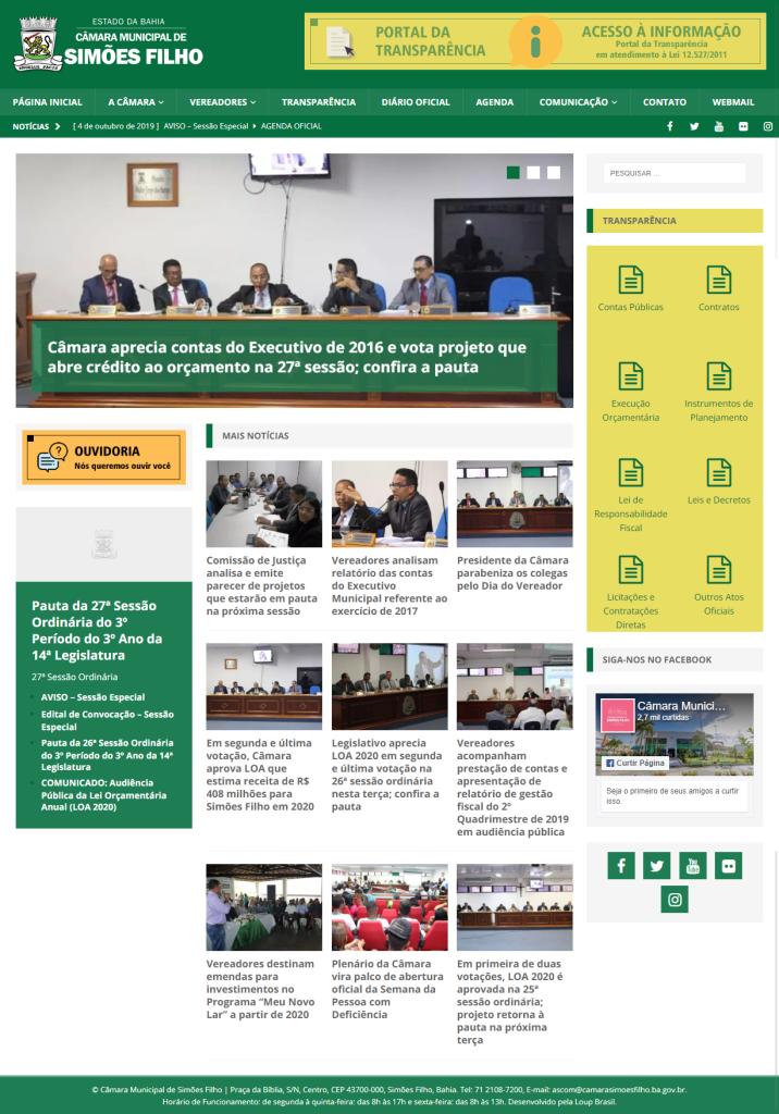 Print da página principal do site da Câmara Municipal de Simões Filho.